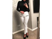 WHITE ZIP DETAIL TROUSERS