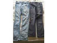 Ladies /girls jeans. Size 6. Pale blue and distressed black.