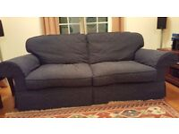 Navy Blue Sofa, 2 Armchairs and Footstool