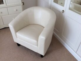 Cream leather tub chair for sale