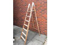 Vintage Wooden Step Ladders - 7 Tread - Great Shop/ Window Display