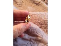 9ct bi colour with groove lines gold wedding band