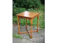 Polished hardwood square occasional table