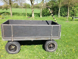 PLATFORM TROLLEY WITH REMOVABLE SIDES QUAD ATV TRAILER GARDEN STABLE FARM 4 WHEEL CART