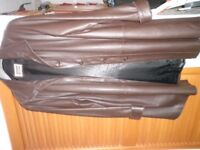 Fabulous Brown Leather button up coat. Excellent condition. 18
