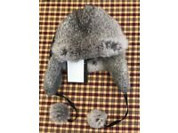 Adrienne Landau Rabbit Fur Trapper Hat (Unused with Labels)