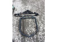 wrought iron swinging shield sign frame
