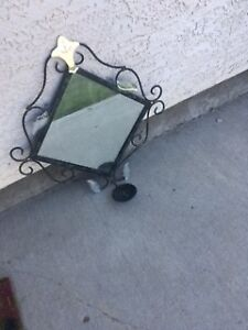 Etched Mirror with Candle Holder