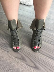 ALDSo Army Peep-toe Booties