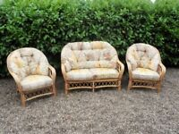 3 piece Conservatory Cane Furniture Set - 2 seater & 2 chairs Bamboo Cane set