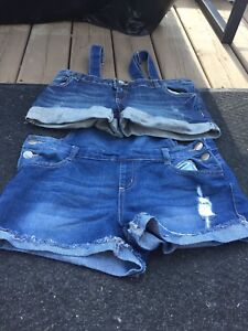 Woman's shorts, jeans, and skirt