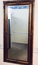 Antique Gold Brown Giant Mirror For Sale