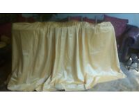 "Pair beautiful gold lined pencil pleated hand stitched curtains 50""/127cms x 105""/267cms + Pelmet."