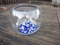 Centerpiece for wedding reception - Royal blue pebbles included