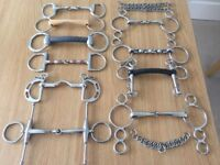 Selection of 10 stainless steel bits & 3 double link curb chains