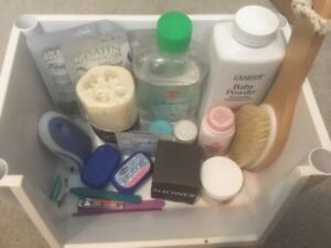 Baby oil & powder, razors, scrubs, and  lotions