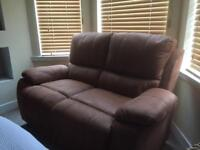 Brown suede leather dbl sofa