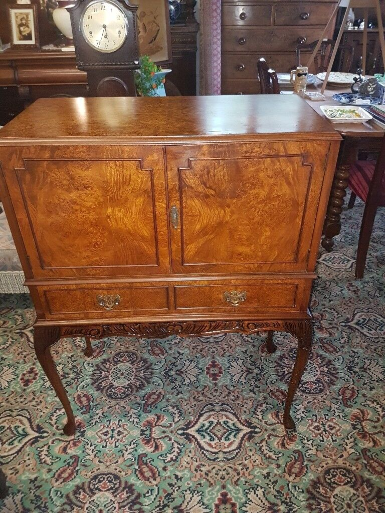 burr walnut reproduction cocktail cabinet On Cabriole Legs