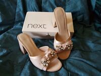 LADIES NEXT ALMOST NEW JEWELLED BLOCK HEAL SANDALS SIZE 5