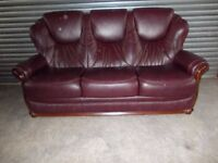 Mahogany Brown Italian Leather 3-seater Sofa with matching Electric Recliner Chair