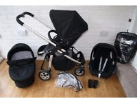 Black iCandy Cherry pram pushchair with car seat travel system 3 in 1 ***can post***