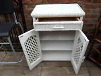 white wicker cabinet