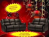 Lazy boy recliner sofa black full hide real leather 3+2 fast delivery