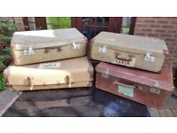 VINTAGE RETRO CANVAS SUITCASES LUGGAGE DISPLAY. IDEAL FOR WEDDINGS SHOPS ANTIQUE