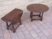 two drop leaf solid oak side tables for sale