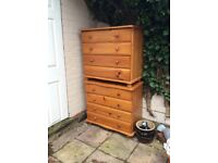 2 x Pine Chests of 4 Drawers Upcycle or Just Use.