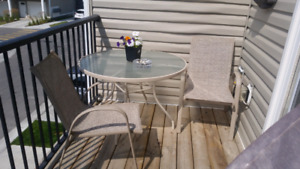 Patio table & 3 chairs - spot for umbrella