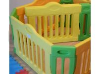 Baby Vivo Plastic 4 Sided Expandable Playpen Room Divider with Extension Pack