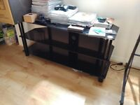 """50"""" or 55"""" Black Glass TV Stand with 3 Shelves"""