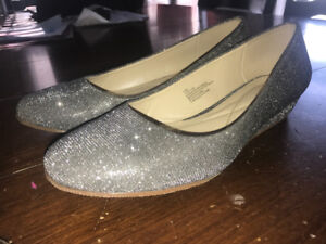 Wedge sparkly silver shoes