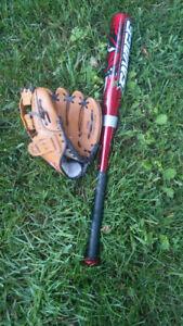 Kids baseball bat and glove