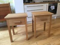Solid oak bedside tables with drawer