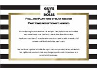 FULL AND PART TIME HAIRSTYLIST AND PART TIME RECEPTIONIST POSITIONS AVAILABLE