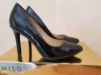 Brand new size 4 miso black Patent heels
