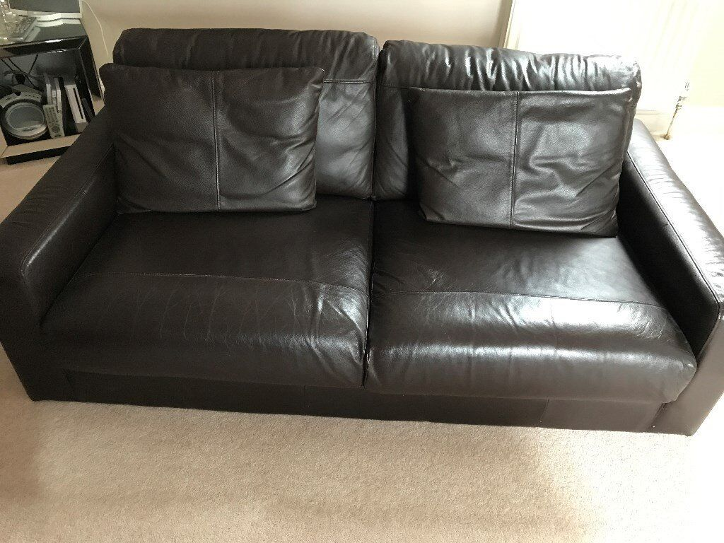 Leather Sofa with matching cushions (good conditionin Dunblane, StirlingGumtree - Leather sofa with matching cushions in good condition. The photos show the Sofa with the legs detached (for moving purposes). The legs are 10cm high wooden bock shape which screw in each corner. The Sofa itself is 1.8m wide x 1m deep x 80cm high at...