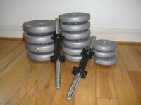Dumbbell weights. 2xhandlebars; Weights incl. 4x10lbs (4.5kgs); 6x5lbs (2.3kgs); 3x2.5lbs (1.1 kgs)