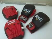 Boxing gloves and sparring pads
