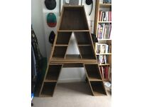 Attractive oak affect A-Frame desk and shelf unit. Used in kids room but can be used anywhere.