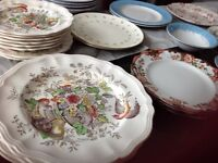 Eclectic Collection of China plates and bowls