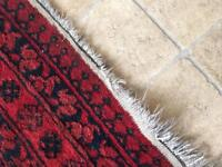 Quality Red and blue black Persian Turkish oriental rug possibly antique 103 x 143 cm