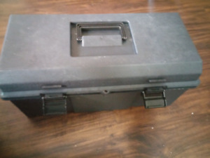 GREY TOOL BOX WITH LOCKING CLIPS AND A PLACE FOR A PAD LOCK