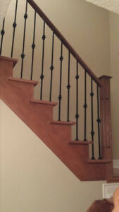 STAIR TREADS, IRON SPINDLE , POSTS & FLOORING