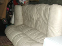 3 seater cream real leather sofa in very good condition