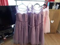 Bridesmaid dresses in lilac & pink