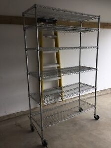 Steel shelving with wheels