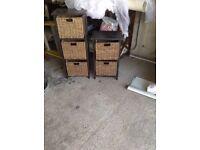 Set of 2 rattan drawers